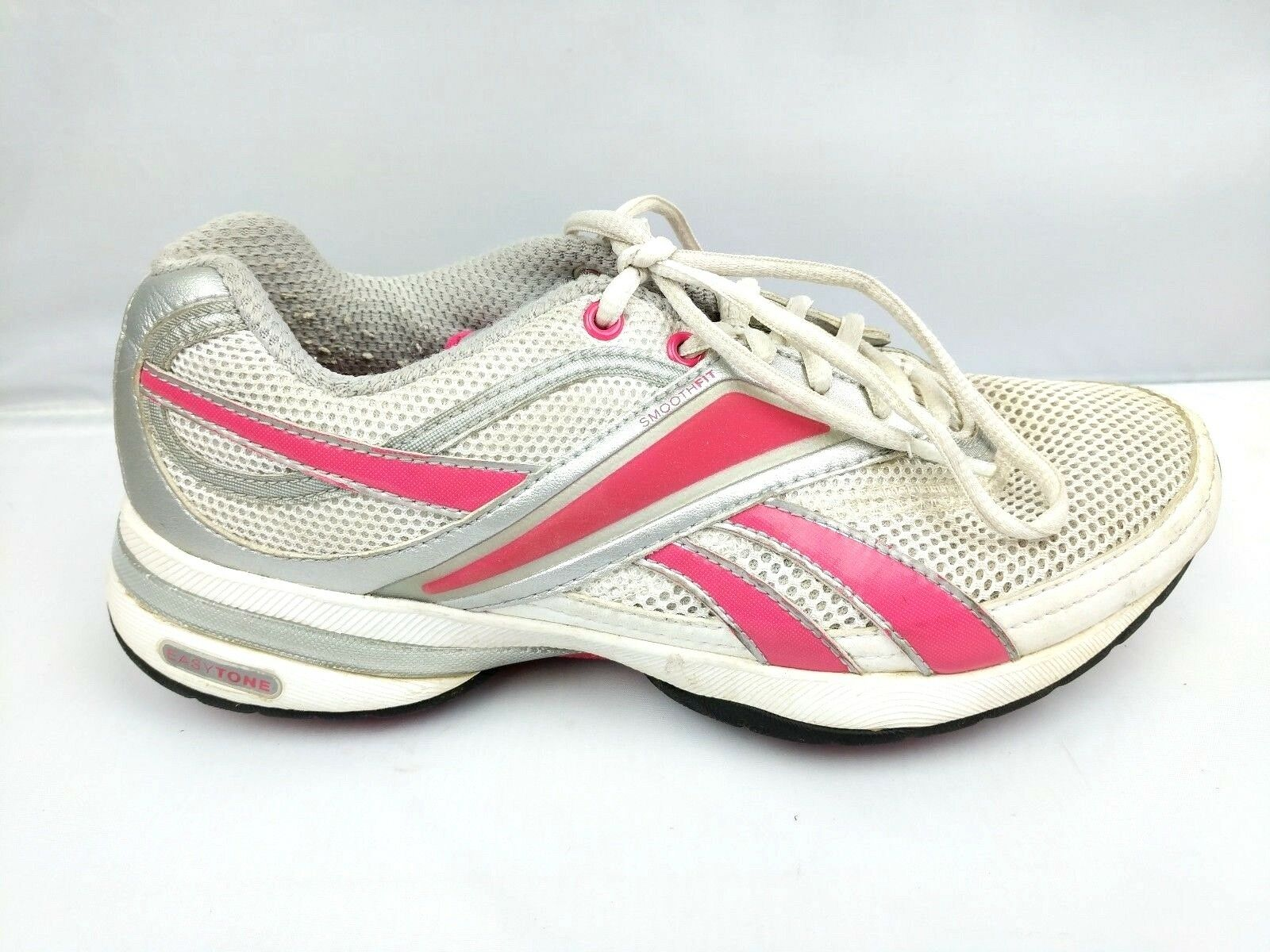 Reebok Easy Tone Womens Size 7 White Pink Lace Up Toning shoes Walking Running