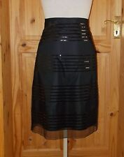 black midi knee chiffon mesh tulle sequin party evening skirt 8 M&S BNWT