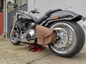 Satteltasche-Harley-Davidson-ODIN-Brown-braun-HD-Schwingentasche-Fatboy-Rahmen