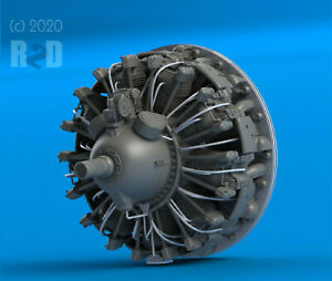1-32-FAST-FIX-Detailed-High-Resolution-3DP-Resin-R-2800-Radial-Engine-Front-NEW