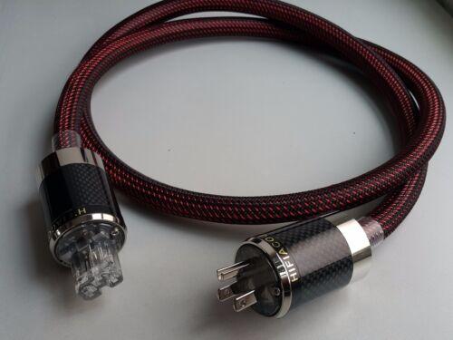 Hifi  AC OCC Copper Power Cable Carbon Fiber Rhodium Plug hi end us