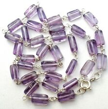 "Amethyst Bead Necklace 925 Sterling Silver Purple Gemstone 16"" Vintage Jewelry"
