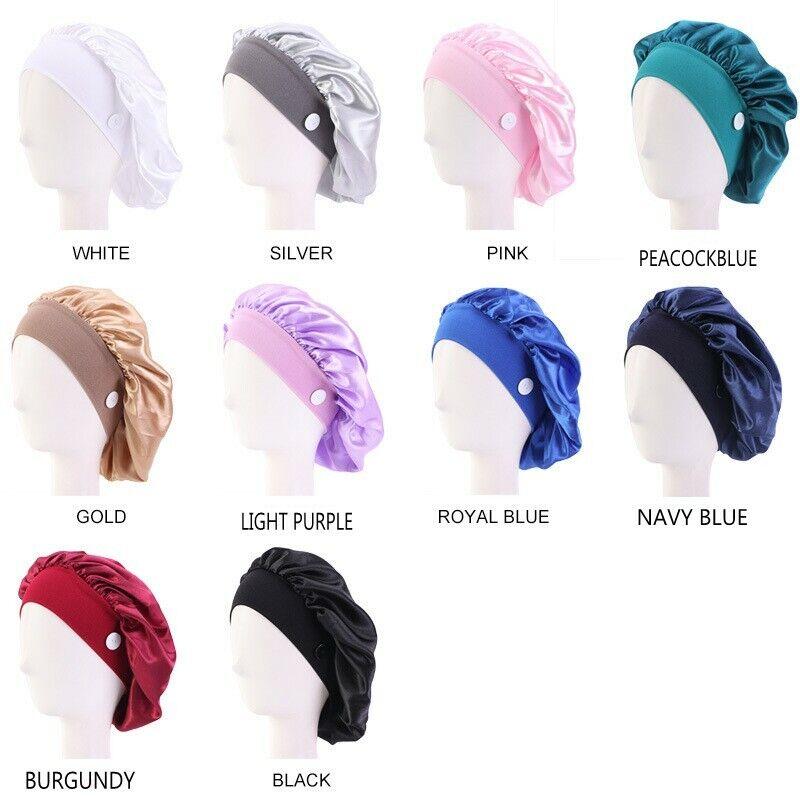 Women Sleep Cap Button Hair Bonnet Hat Silk Soft Silk Satin Night Sleep Cap