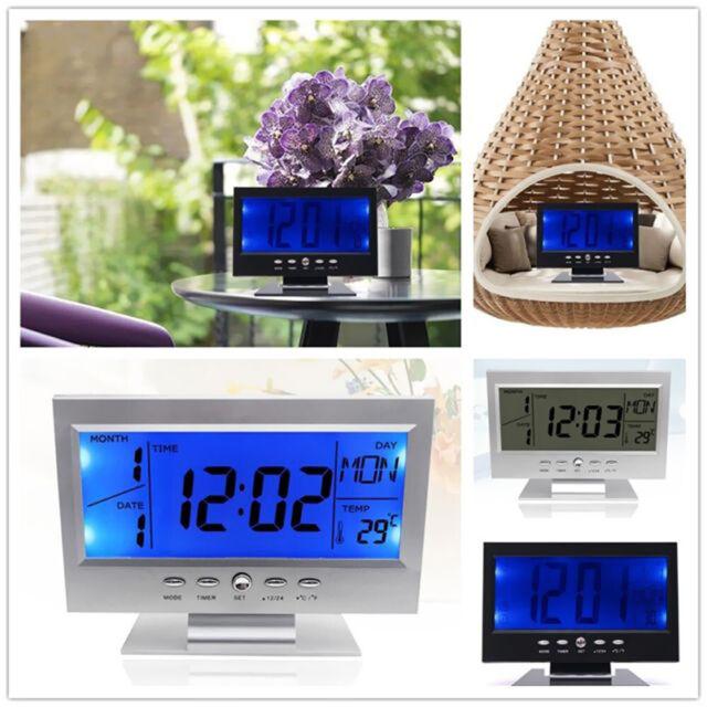 Digital Sound Sensor Light Up Table Alarm Clock LCD Calendar Temperature Snooze