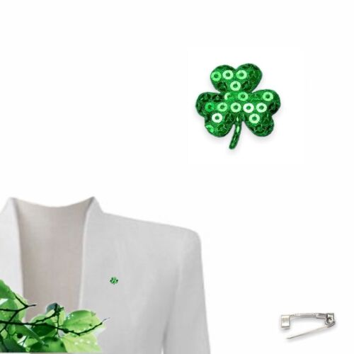St Patricks Day Padded Sequin Sparkle Shamrock 25mm Brooch Lapel Pin Fabric