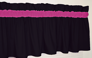 Image Is Loading Black And Bright Pink Curtain Valance Window Topper