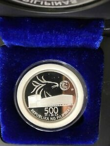 Philippines-500-pesos-70th-Year-Central-bank-Commem-Silver-PROOF-w-COA-Blue-Box
