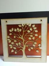 2  x Wooden Mdf FamilyTree Framed 20cm  Tree Size 15cm Sq with 2 holes 4mm