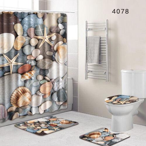 Bathroom Non-Slip Pedestal Rug Lid Toilet Cover Bath Mat Shower Curtain 4Pcs//Set