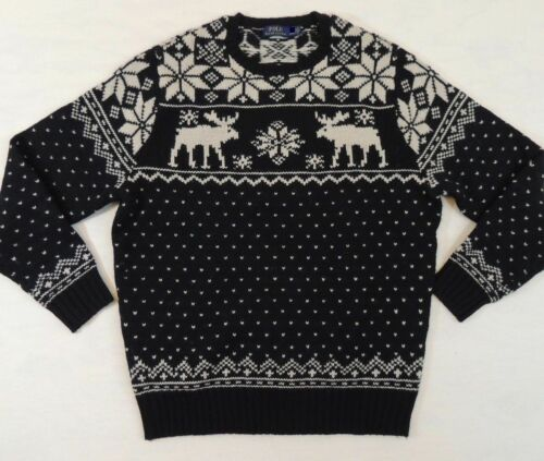 $295 Polo Ralph Lauren Crewneck Nordic Deer Moose Wool Sweater LT XLT 2XLT 3XLT