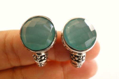 Round Green Chalcedony Ornate Balinese 925 Sterling Silver Stud Huggie Earrings