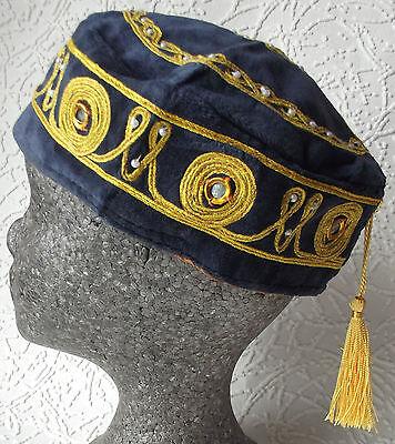 Tasselled smoking cap Velvet hat GREY Gold tassel NEW size S M 2XL