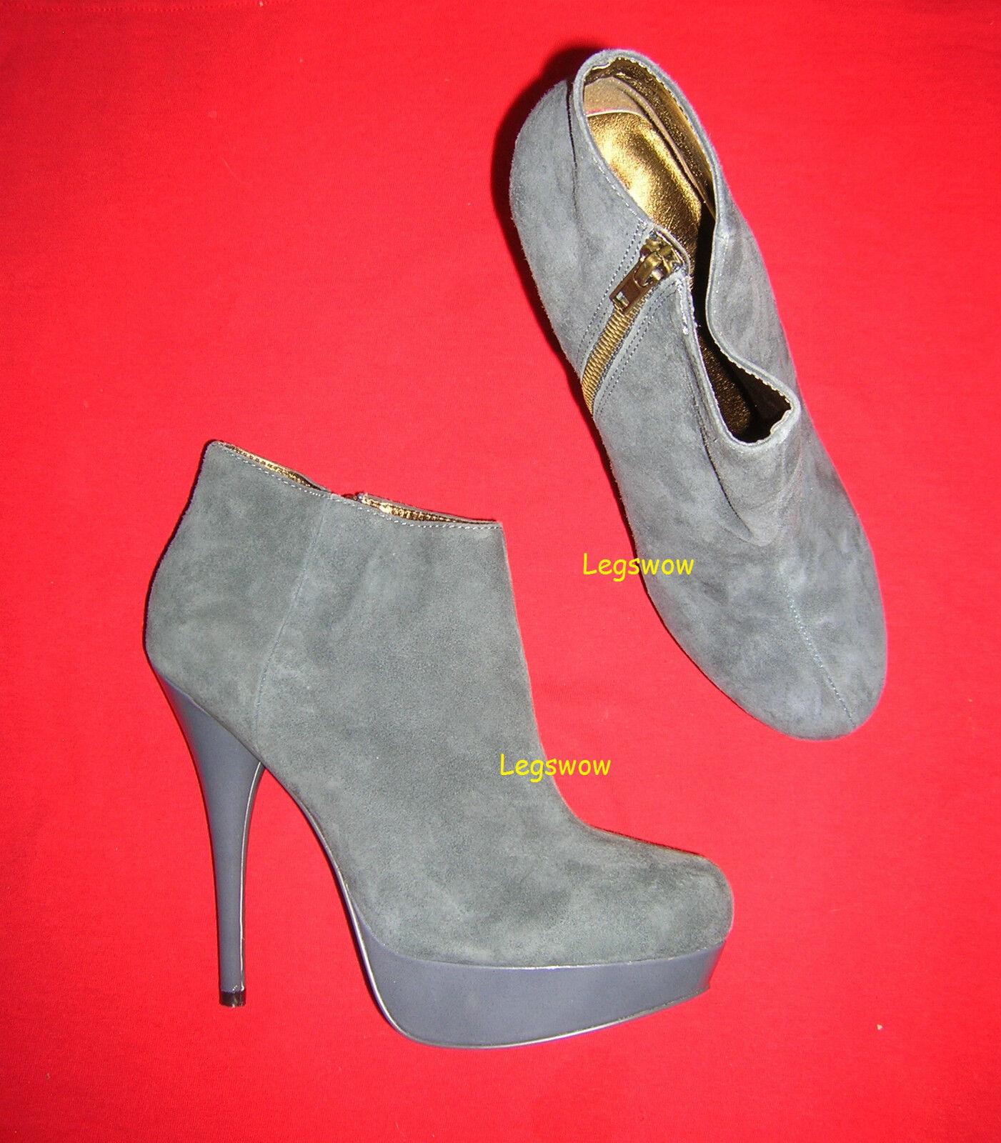 Steve Madden Gray Stivali Suede Platforms Booties Stivali Gray 5.5 Heels Shoes 10 Platform New ccdd28