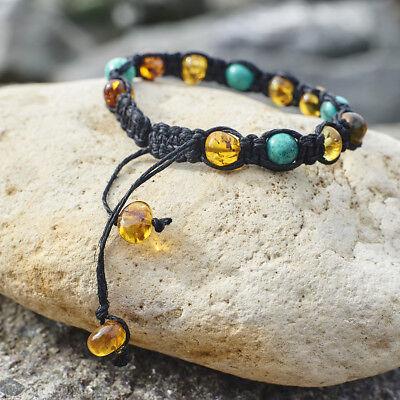 Macrame Natural Baltic Amber Bracelet Shamballa Unisex Man Brown Linen Handmade