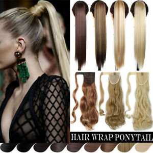 100-Real-Thick-Clip-In-As-Human-Remy-Hair-Extensions-Pony-Tail-Wrap-Ponytail-FH