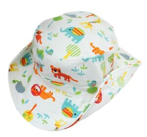 1c01c194 Baby Boy Girl Cotton White Animals Zoo Bucket Cowboy Sun Hat with ...