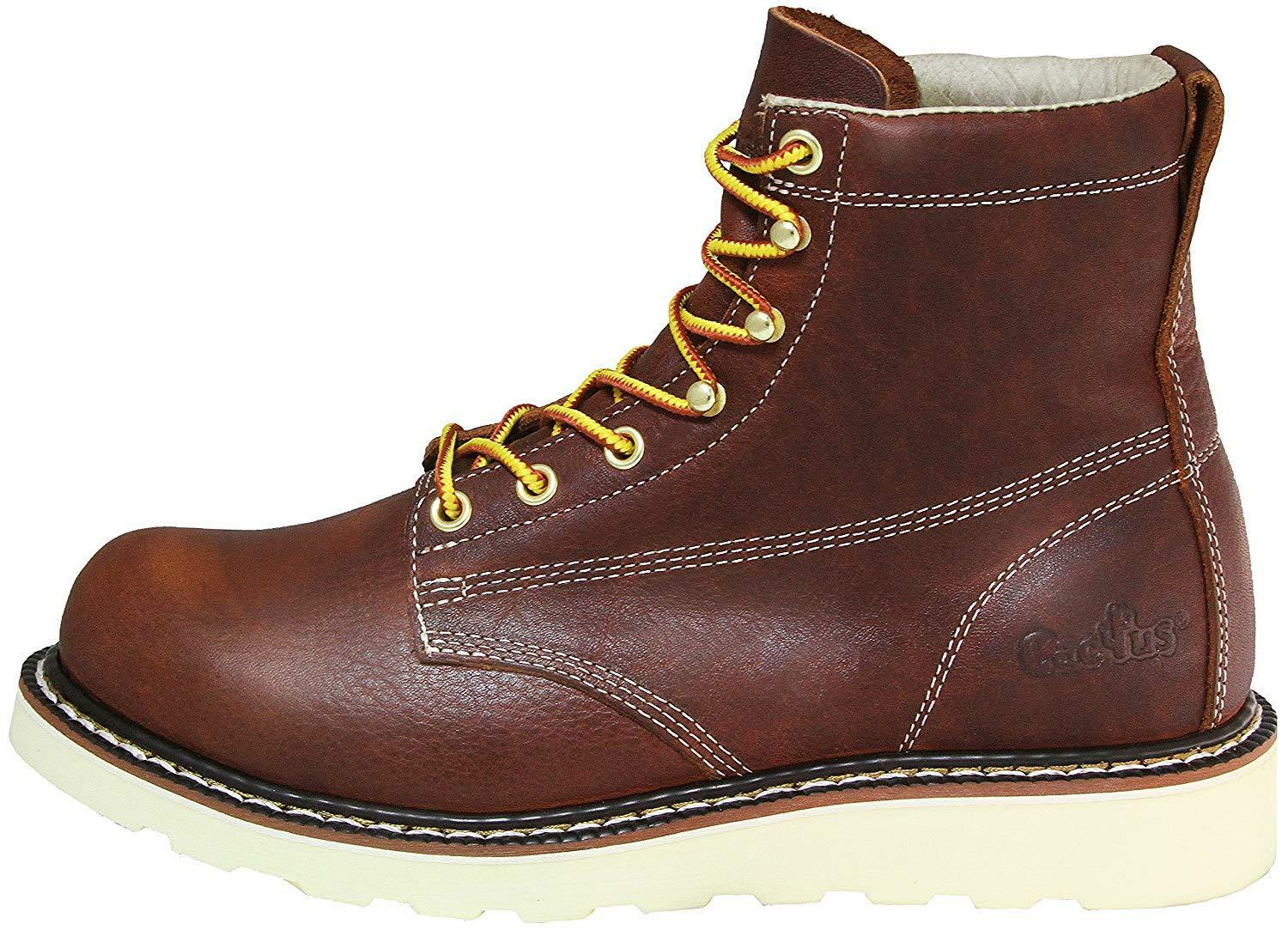 CACT CACT CACT  WORK BOOTS 6070 BROWN 100% LEATHER LIGHT WEIGHT NEW IN BOX da1808