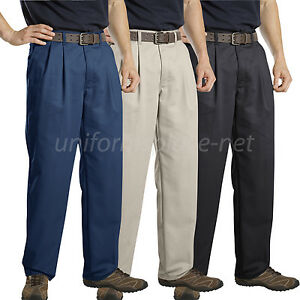 Dickies Pants Mens Relaxed Fit Premium Cotton Pleated Front Pant