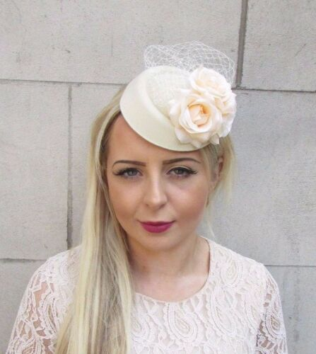 Cream Rose Flower Pillbox Hat Fascinator Races Wedding Hair Clip Vtg Hair 3739