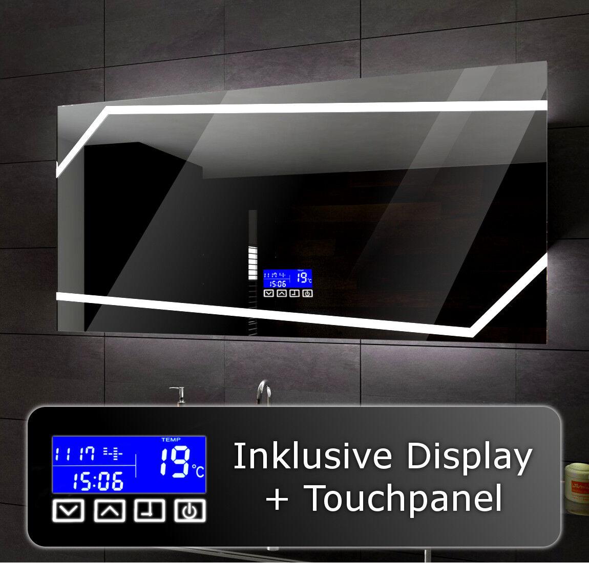 Lumineux DEL Miroir de salle de bain pour mesurer Miami + LCD Touch Control Panel