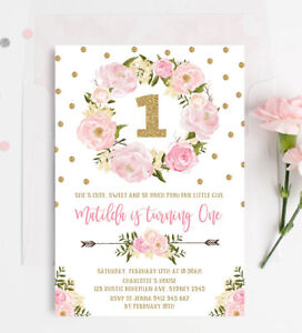 Image Is Loading Floral First 1st Birthday Invitation Pink Gold Boho
