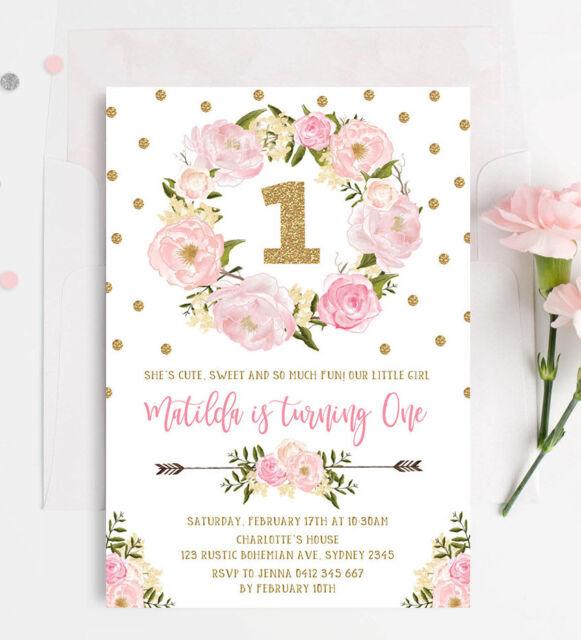 Floral First 1st Birthday Invitation Pink Gold Boho Confetti Tea Party Invite