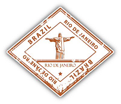 "Rio De Janeiro Brazil Grunge Stamp Travel Car Bumper Sticker Decal 5"" x 4"""
