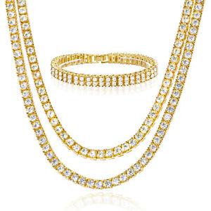Men S Iced Gold Silver Toned 18 22 Double Tennis Chain 8 Bracelet Set Ebay