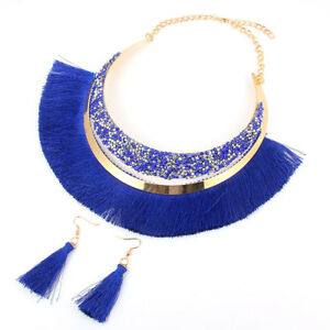 1Set-Bohemia-Style-Tassel-Choker-Collar-Necklace-Dangle-Earrings-Women-Jewelry