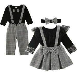 Brother Sister Outfit Set Family Matching Clothes Toddler Romper Overall Suspend