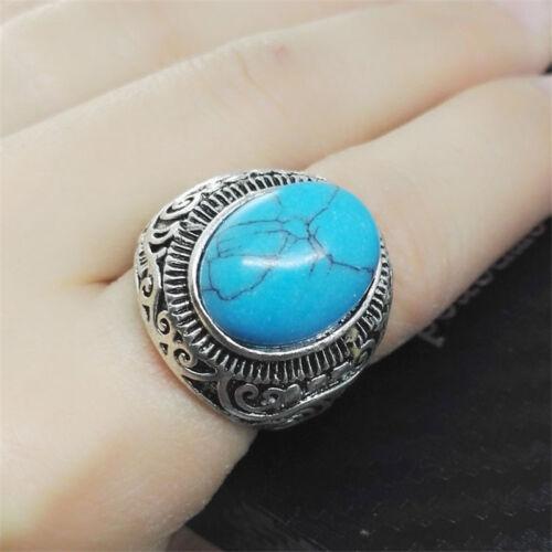 1 PCS acier inoxydable Celtique Large Naturel Ovale Turquoise Gemstone Ring À faire soi-même Taille