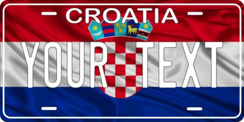 Croatia Flag Wave License Plate Personalized Car Bike Motorcycle Custom Tag