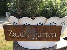 Schild Spruchtafel Gartenschild  Edelrost Zaubergarten Schmetterling Gartendeko