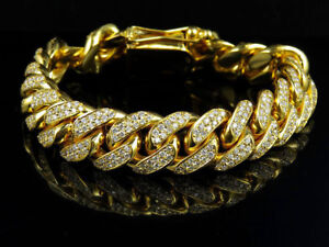 13CT Round Cut Diamond  Men/'s 14k Yellow Gold Over and Pave Set Bracelet