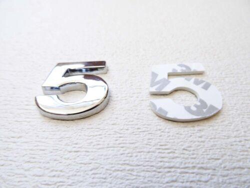 NUMBER 5 FULL METAL SILVER 3D SELF-ADHESIVE CAR BADGE HOME EMBLEM STICKER