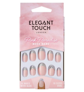 NEW-ELEGANT-TOUCH-FALSE-NAILS-PINK-PARADISE-COLL-BOSS-BABE-12-SIZES-OVAL
