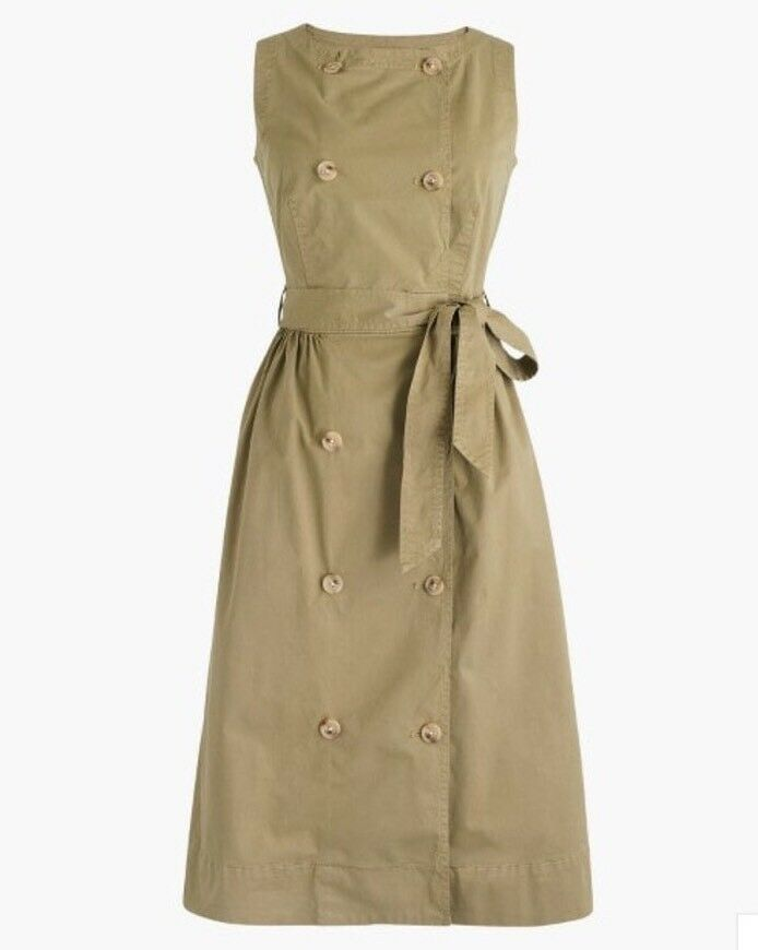 New J Crew Garment-dyed Trench Dress In In In golden Tea Sz 0 G1499 bb9605