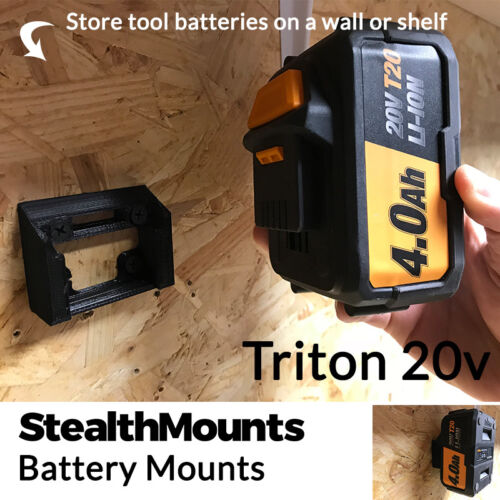 2x StealthMounts for Triton 20v Battery Holder Mount Slot Wall Van T20 Li Ion