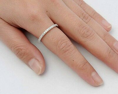 Eternity CZ Thin Band Rings Sterling Silver 925 Bestseller Jewelry Selectable
