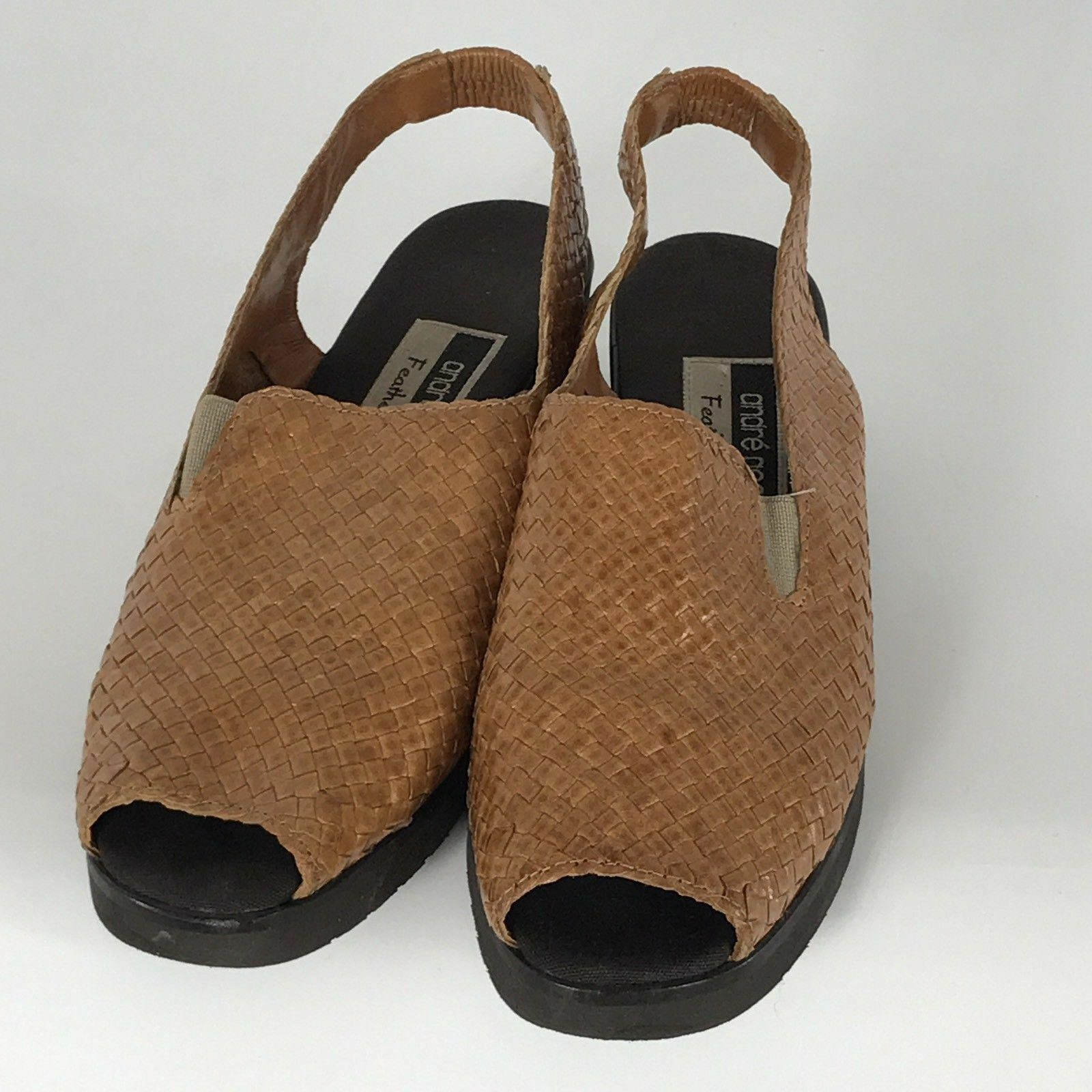 Andre' Assous Featherweights 7 Brown Tan Leather Woven Sandals Block Heel Spain