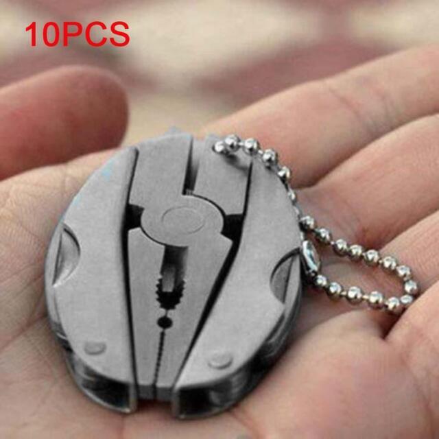 10pcs Pocket Multifunction Tool Set Mini Foldaway Keychain Plier Screwdriver GA