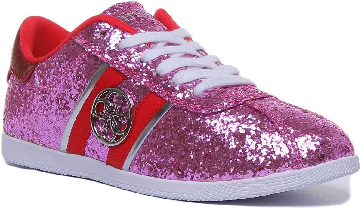 Guess Rylinn Glitter Women Synthetic Pink Trainers UK Size 3 - 8