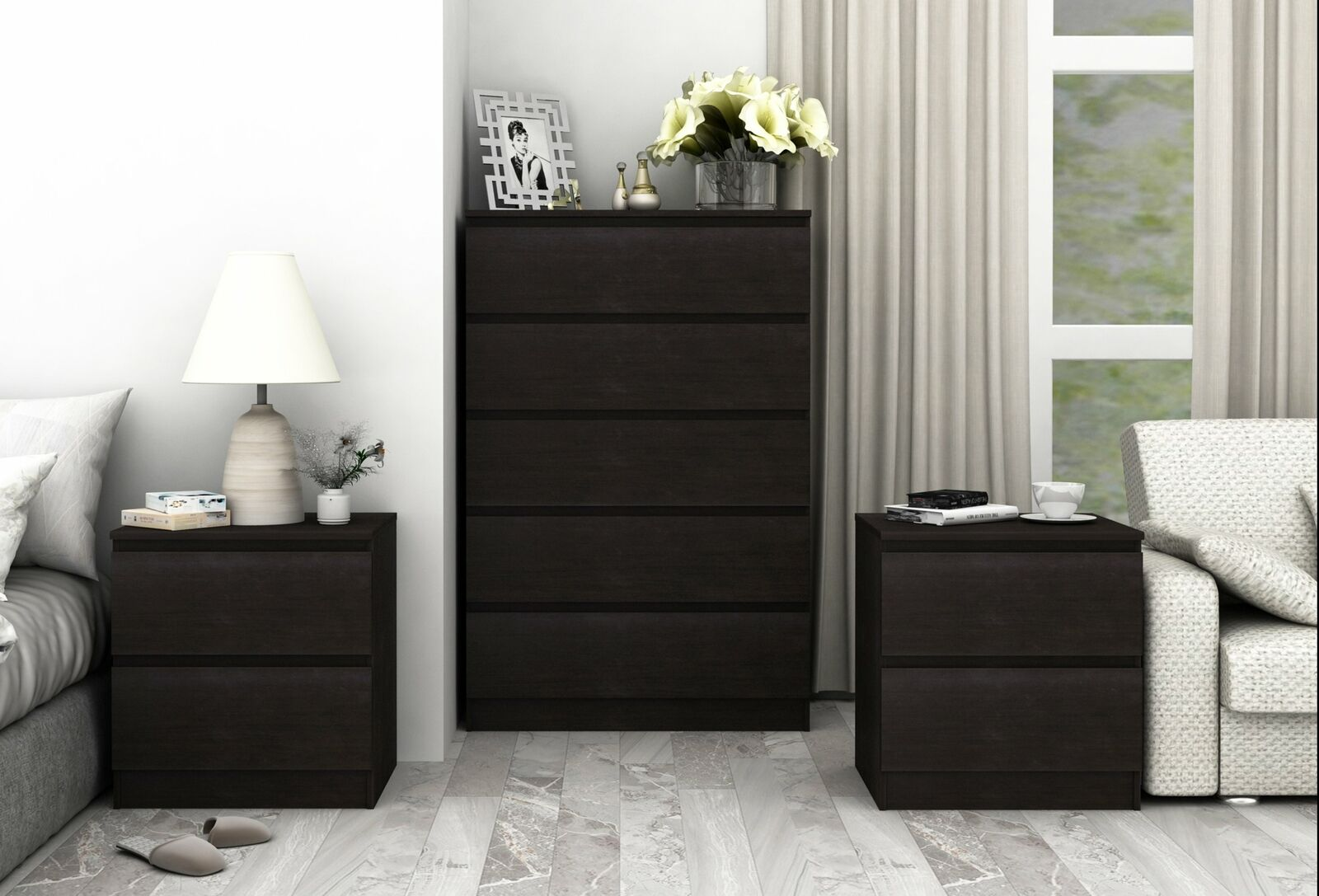 Coco Tall Chest Bedroom Storage Cabinet Set Black Brown Bedroom Furniture Suite Cosmoliving