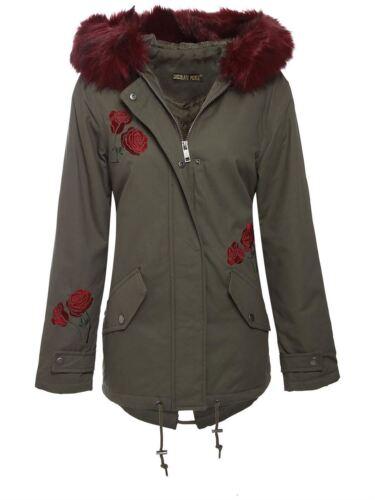 New Womens Rose Floral Design Wine Fur Hood Oversized Parka Jacket Coat 8-16