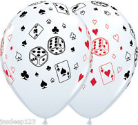 Casino Balloons Cards and Dice Latex Vegas Poker James Bond Party Decorations
