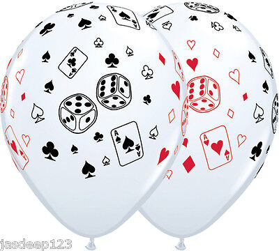 Casino Balloons Cards And Dice Latex Vegas Poker James Bond Party
