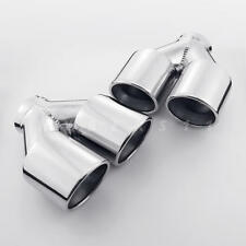 "Pair QUAD 3.5"" Dual Wall Exhaust Tips 2.5"" In Angle Cut Rolled Stainless Steel"
