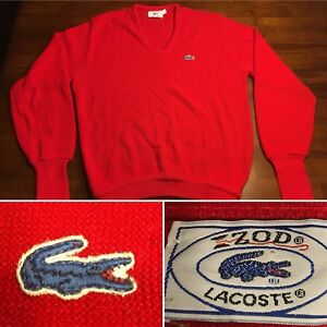 86583ea102d80 Details about Vtg IZOD Lacoste Alligator Mens Cardigan Sweater 60s Made In  USA Red Sz. M