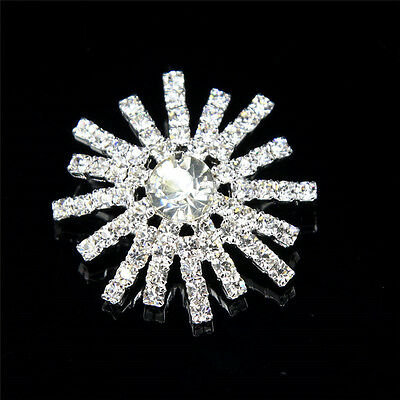 FASCINATING CLEAR RHINESTONE SILVER TONE SHANK BUTTONS SEWING CRAFTS