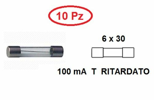 CS 4873//10 FUSIBILE 6 X 30 VETRO 100 mA T RITARDATO CONF 10 PZ